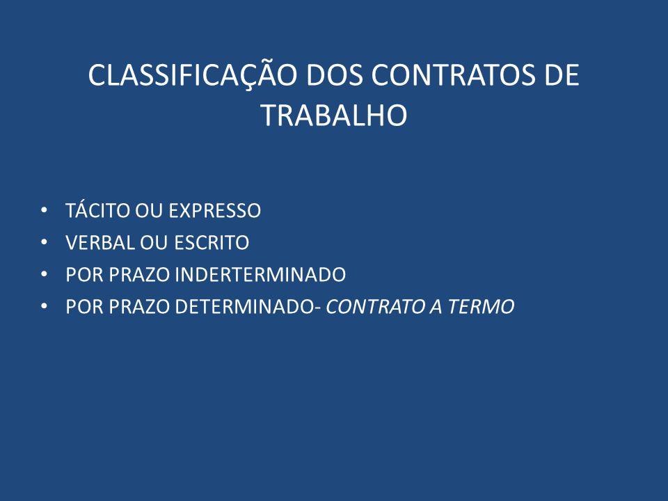 CLASSIFICAÇÃO DOS CONTRATOS DE TRABALHO