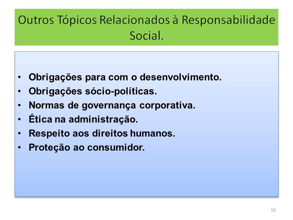 Outros Tópicos Relacionados à Responsabilidade Social.