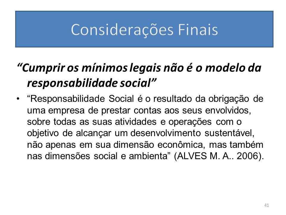 Considerações Finais Cumprir os mínimos legais não é o modelo da responsabilidade social