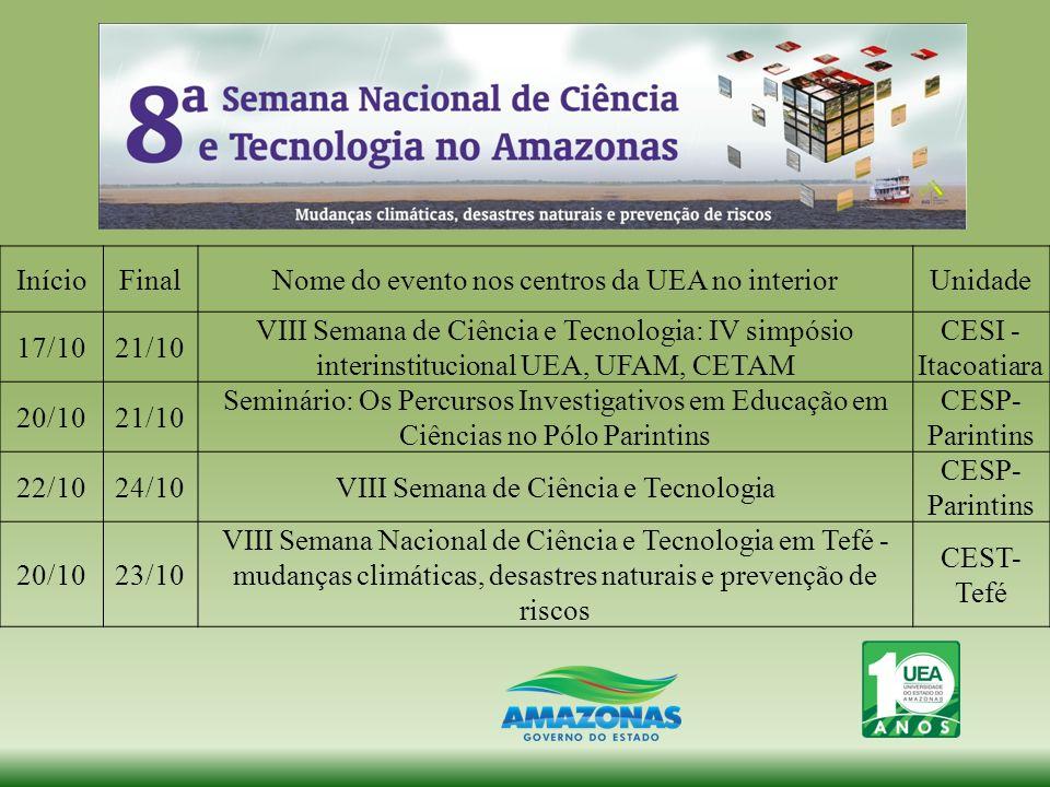 Nome do evento nos centros da UEA no interior Unidade 17/10 21/10
