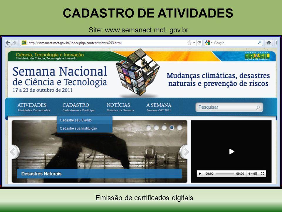 CADASTRO DE ATIVIDADES