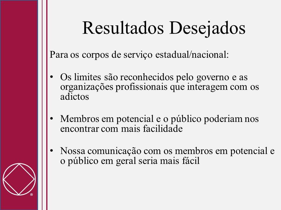 Resultados Desejados Para os corpos de serviço estadual/nacional: