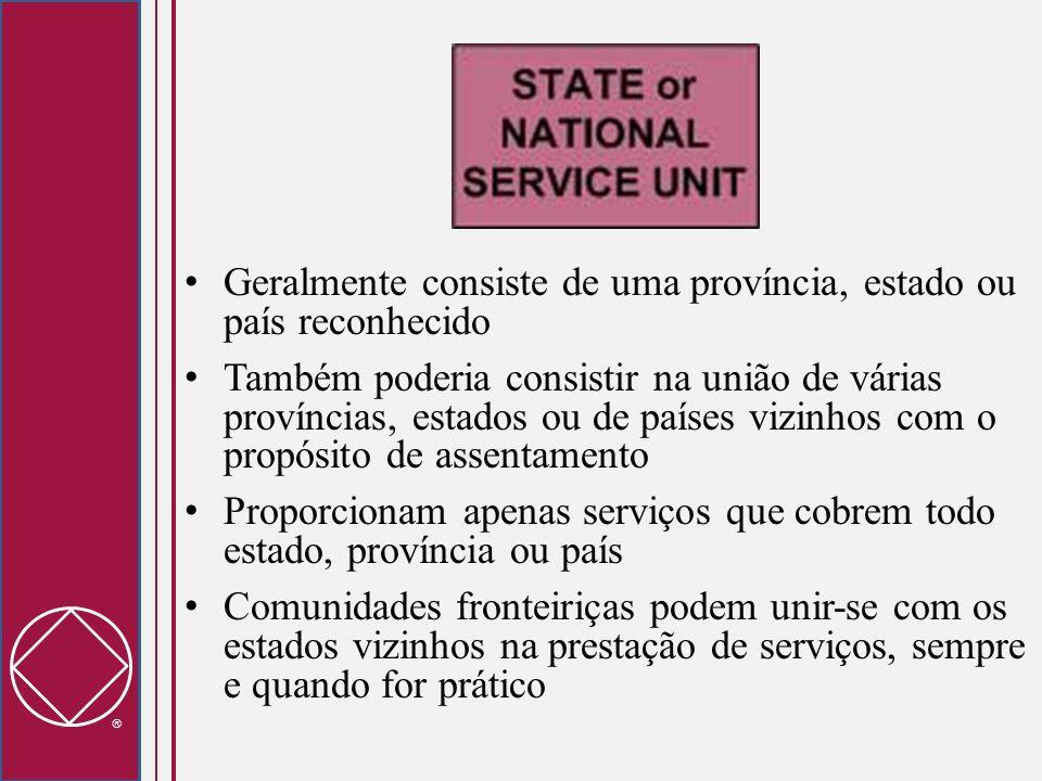 Geralmente consiste de uma província, estado ou país reconhecido