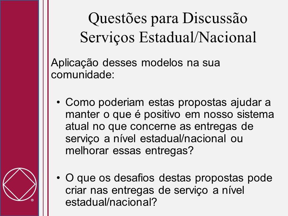 Questões para Discussão Serviços Estadual/Nacional