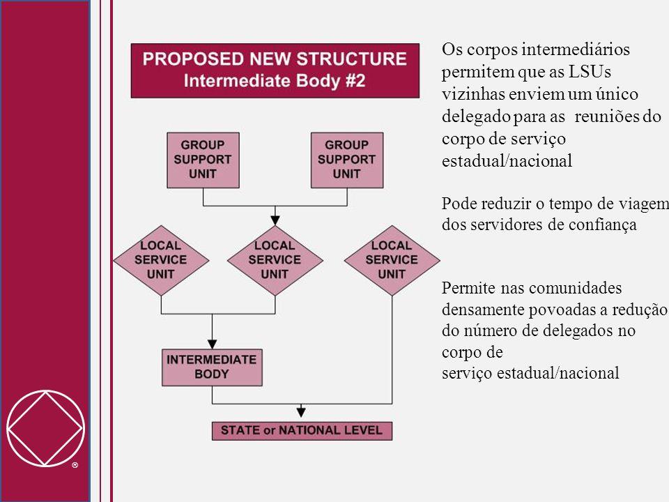 Os corpos intermediários permitem que as LSUs vizinhas enviem um único delegado para as reuniões do corpo de serviço estadual/nacional
