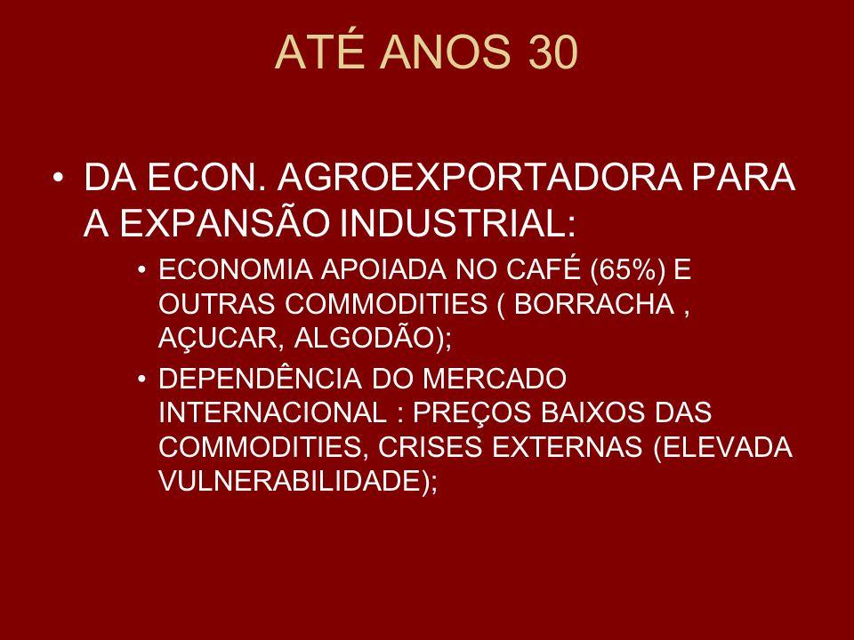 ATÉ ANOS 30 DA ECON. AGROEXPORTADORA PARA A EXPANSÃO INDUSTRIAL:
