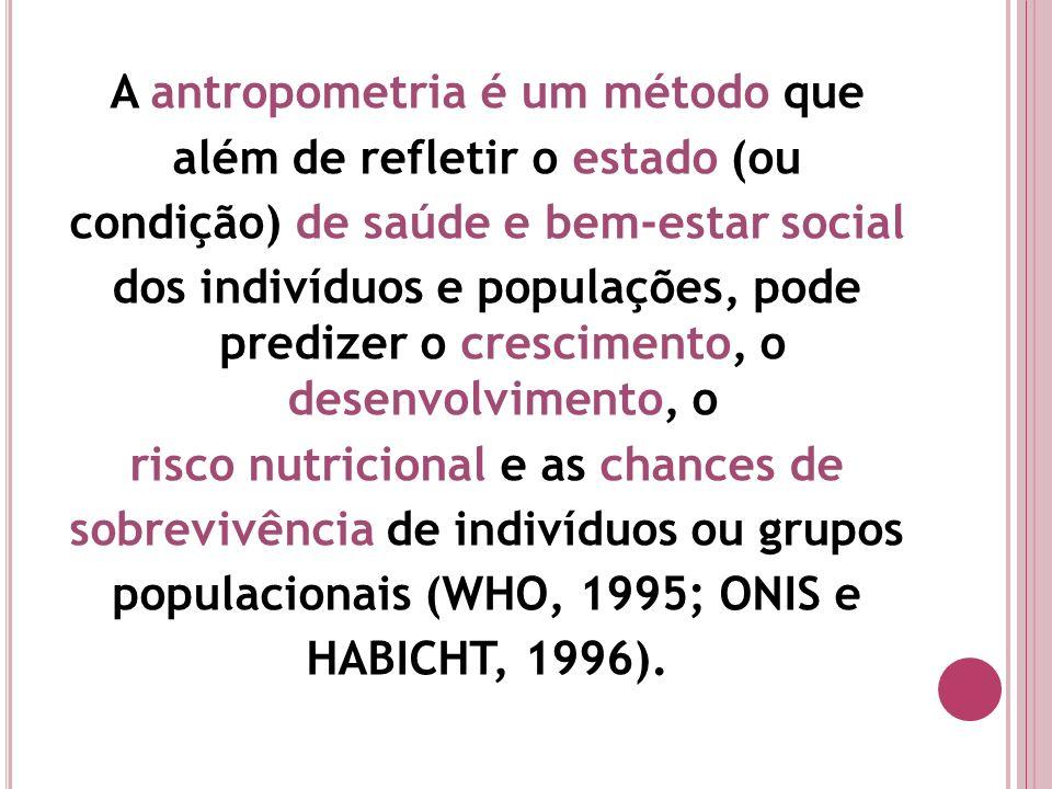 A antropometria é um método que além de refletir o estado (ou condição) de saúde e bem-estar social dos indivíduos e populações, pode predizer o crescimento, o desenvolvimento, o risco nutricional e as chances de sobrevivência de indivíduos ou grupos populacionais (WHO, 1995; ONIS e HABICHT, 1996).