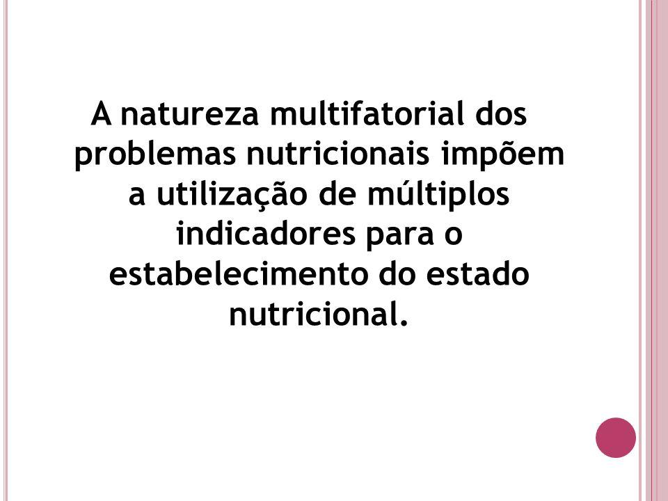 A natureza multifatorial dos problemas nutricionais impõem a utilização de múltiplos indicadores para o estabelecimento do estado nutricional.