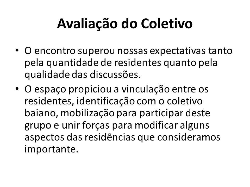 Avaliação do Coletivo O encontro superou nossas expectativas tanto pela quantidade de residentes quanto pela qualidade das discussões.
