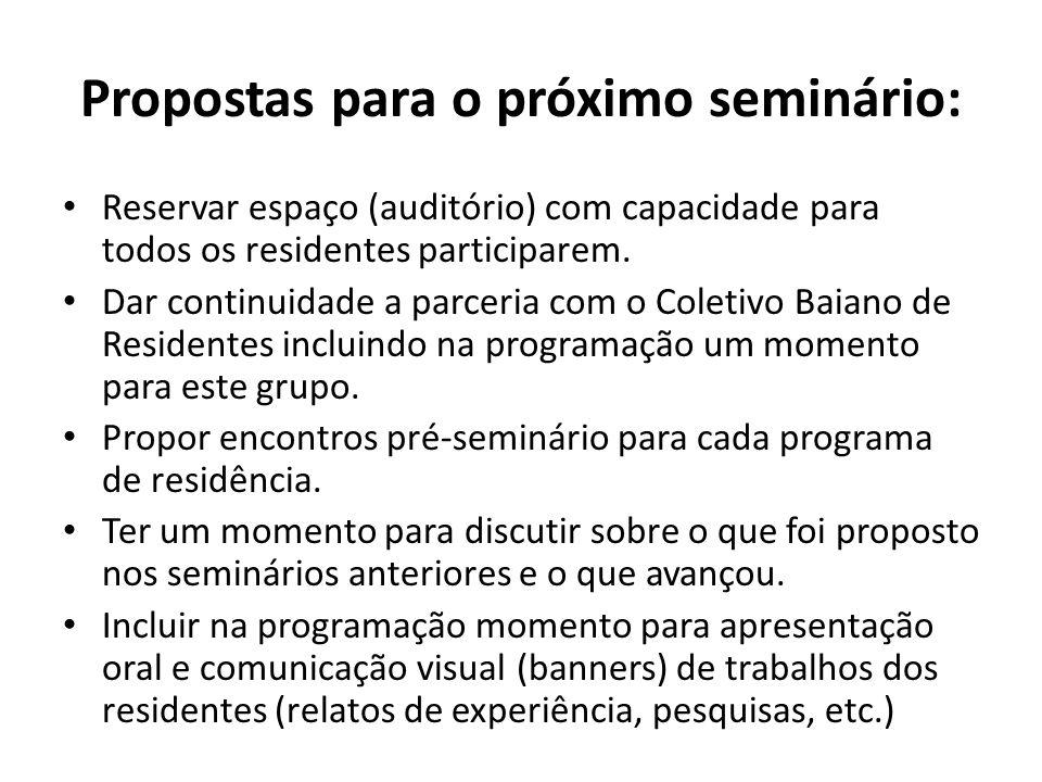 Propostas para o próximo seminário: