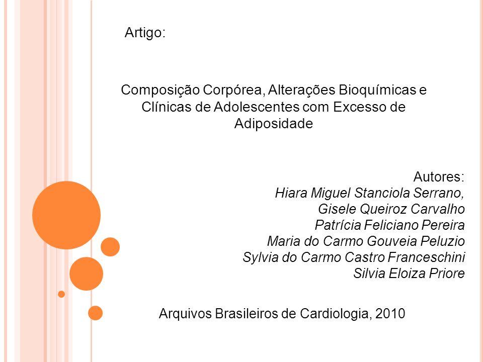 Artigo: Composição Corpórea, Alterações Bioquímicas e Clínicas de Adolescentes com Excesso de Adiposidade.