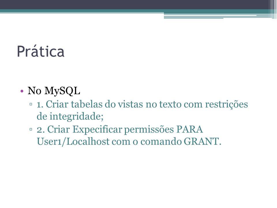 Prática No MySQL. 1. Criar tabelas do vistas no texto com restrições de integridade;