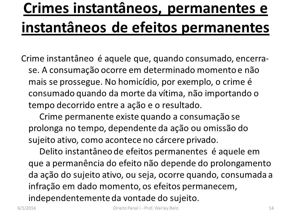 Crimes instantâneos, permanentes e instantâneos de efeitos permanentes