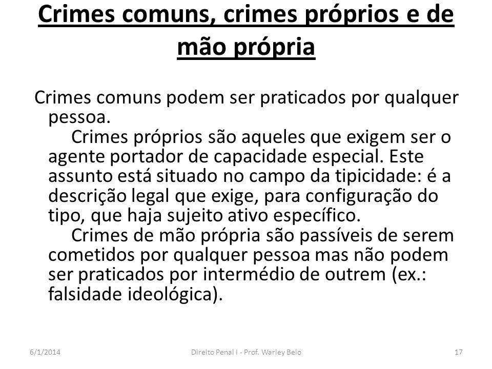 Crimes comuns, crimes próprios e de mão própria