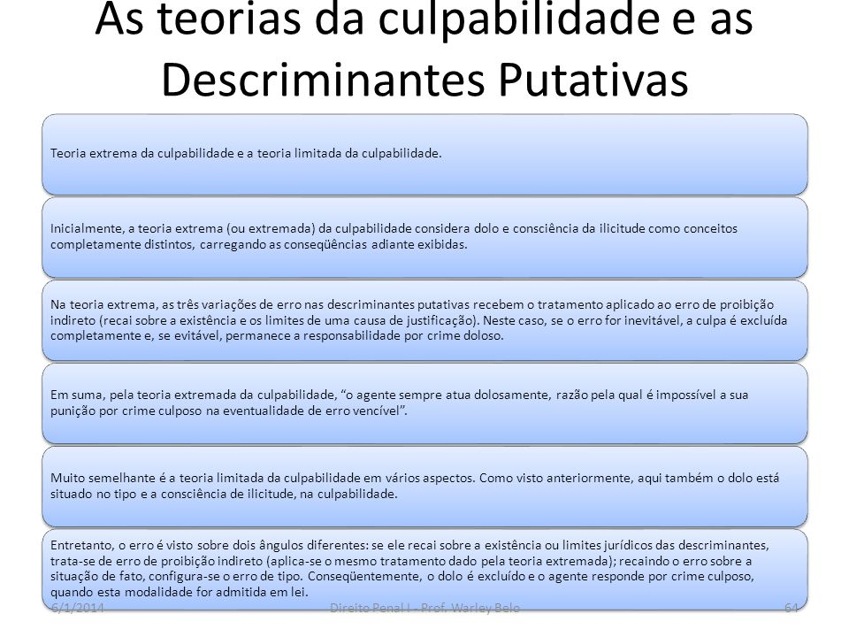 As teorias da culpabilidade e as Descriminantes Putativas