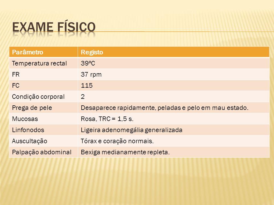 Exame físico Parâmetro Registo Temperatura rectal 39ºC FR 37 rpm FC