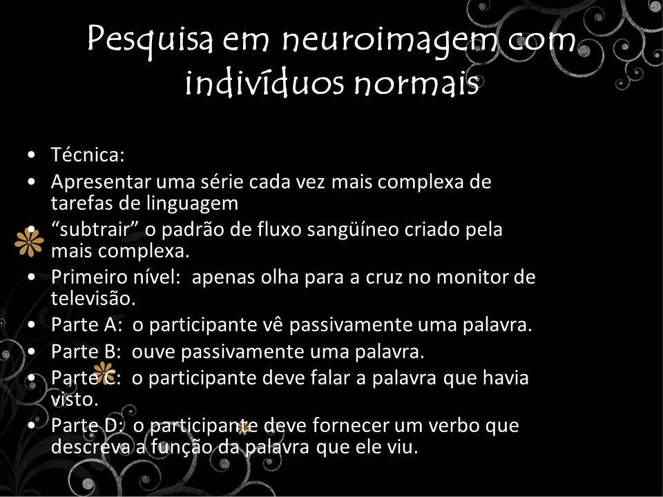 Pesquisa em neuroimagem com indivíduos normais