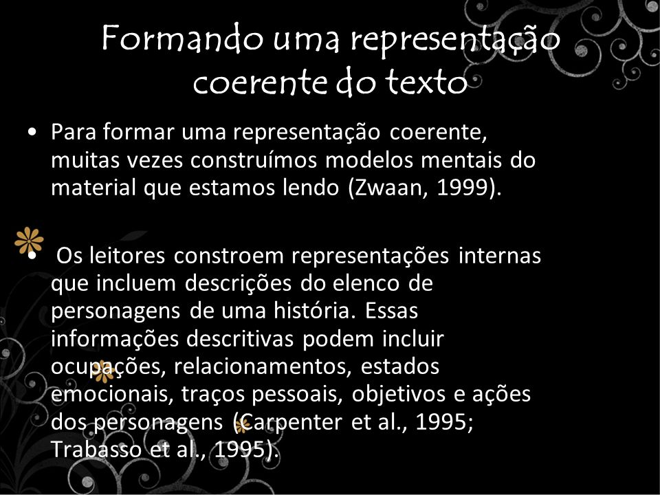 Formando uma representação coerente do texto