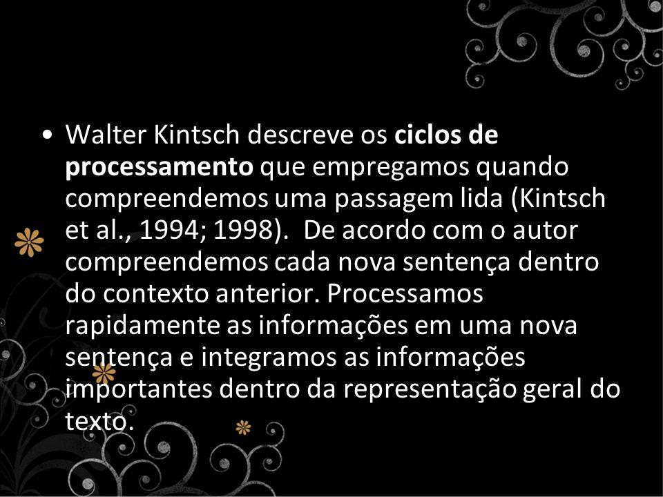 Walter Kintsch descreve os ciclos de processamento que empregamos quando compreendemos uma passagem lida (Kintsch et al., 1994; 1998).