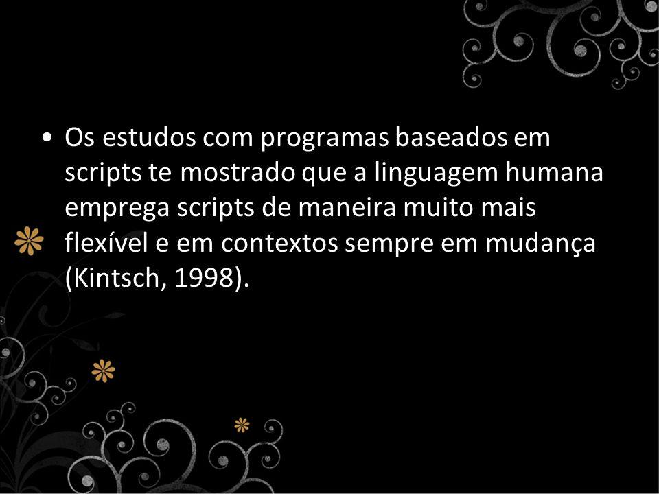 Os estudos com programas baseados em scripts te mostrado que a linguagem humana emprega scripts de maneira muito mais flexível e em contextos sempre em mudança (Kintsch, 1998).