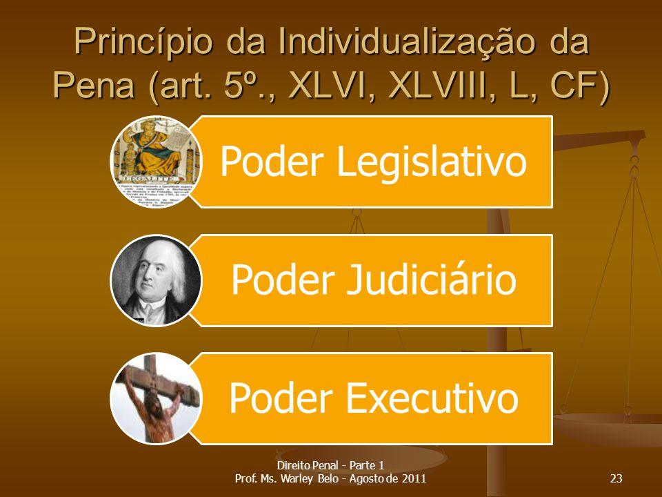 Princípio da Individualização da Pena (art. 5º., XLVI, XLVIII, L, CF)