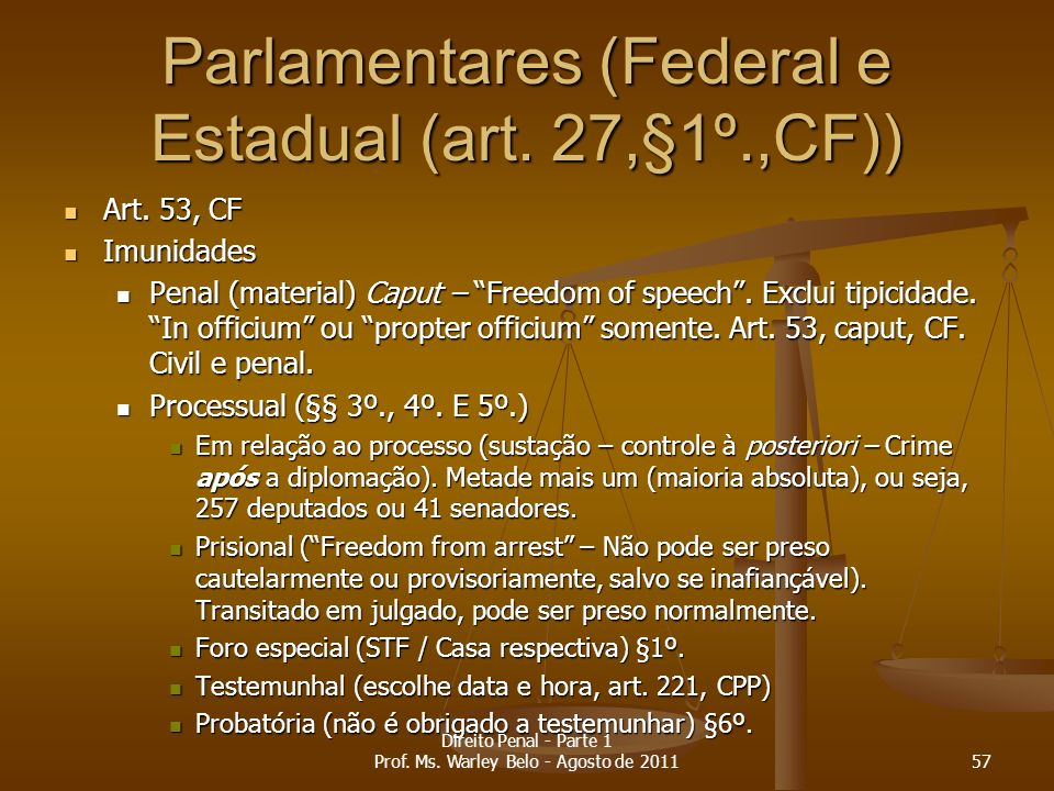 Parlamentares (Federal e Estadual (art. 27,§1º.,CF))