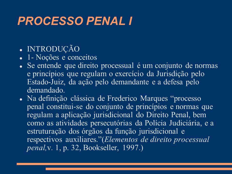PROCESSO PENAL I INTRODUÇÃO 1- Noções e conceitos