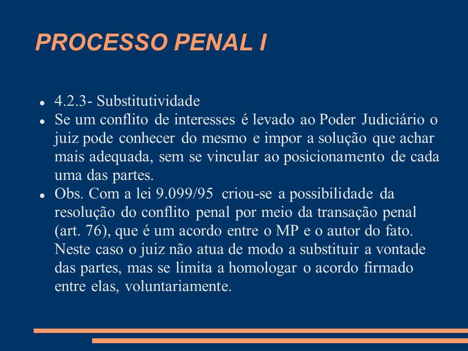 PROCESSO PENAL I 4.2.3- Substitutividade