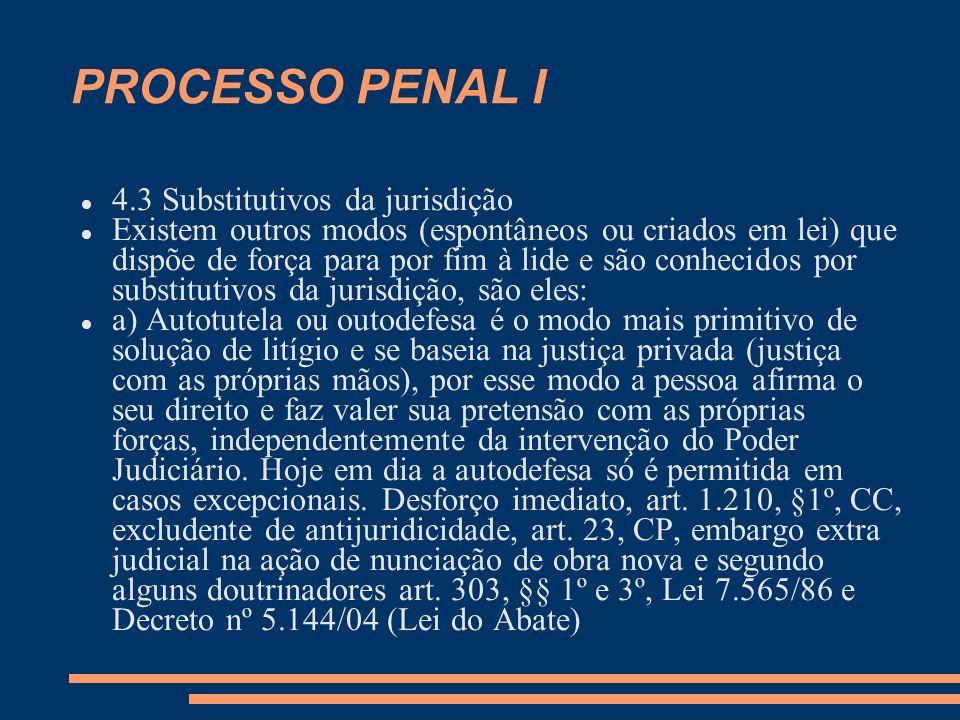 PROCESSO PENAL I 4.3 Substitutivos da jurisdição