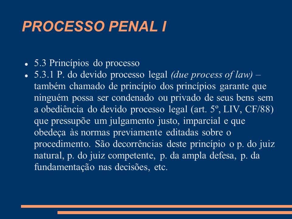 PROCESSO PENAL I 5.3 Princípios do processo