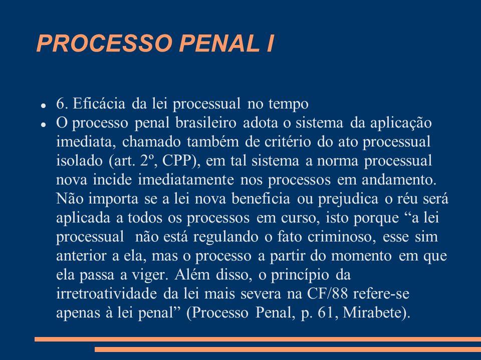 PROCESSO PENAL I 6. Eficácia da lei processual no tempo