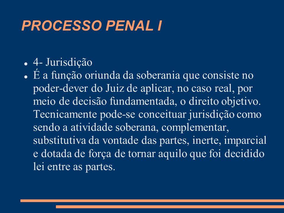 PROCESSO PENAL I 4- Jurisdição