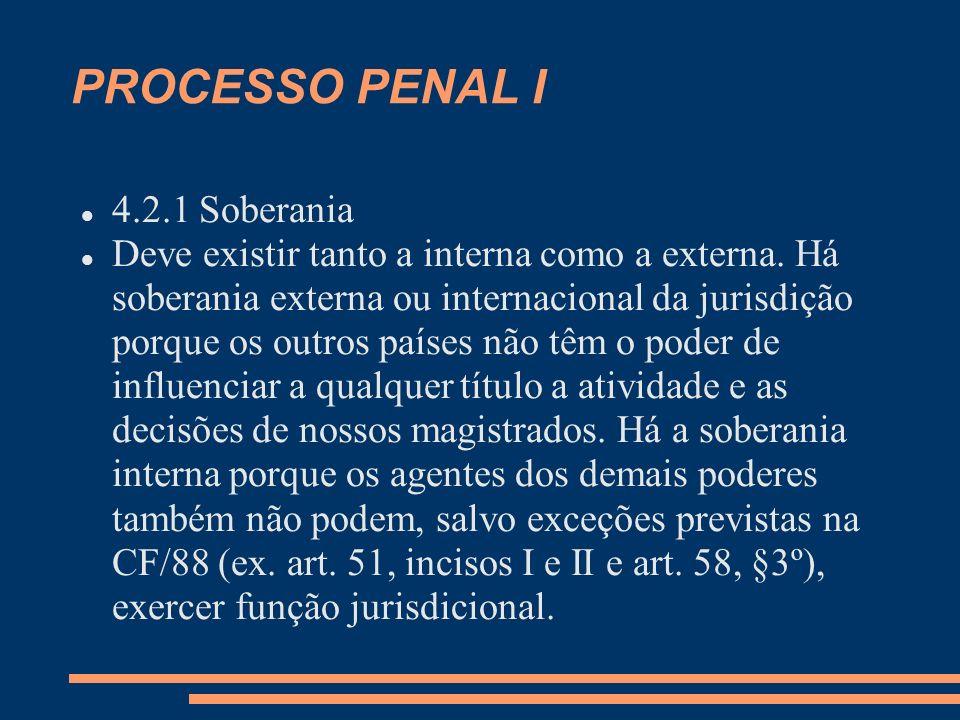PROCESSO PENAL I 4.2.1 Soberania
