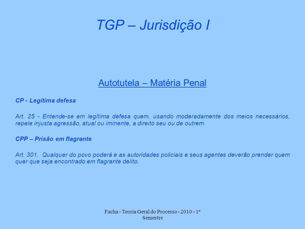 TGP – Jurisdição I Autotutela – Matéria Penal CP - Legítima defesa