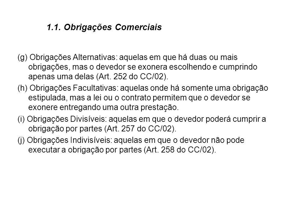 1.1. Obrigações Comerciais