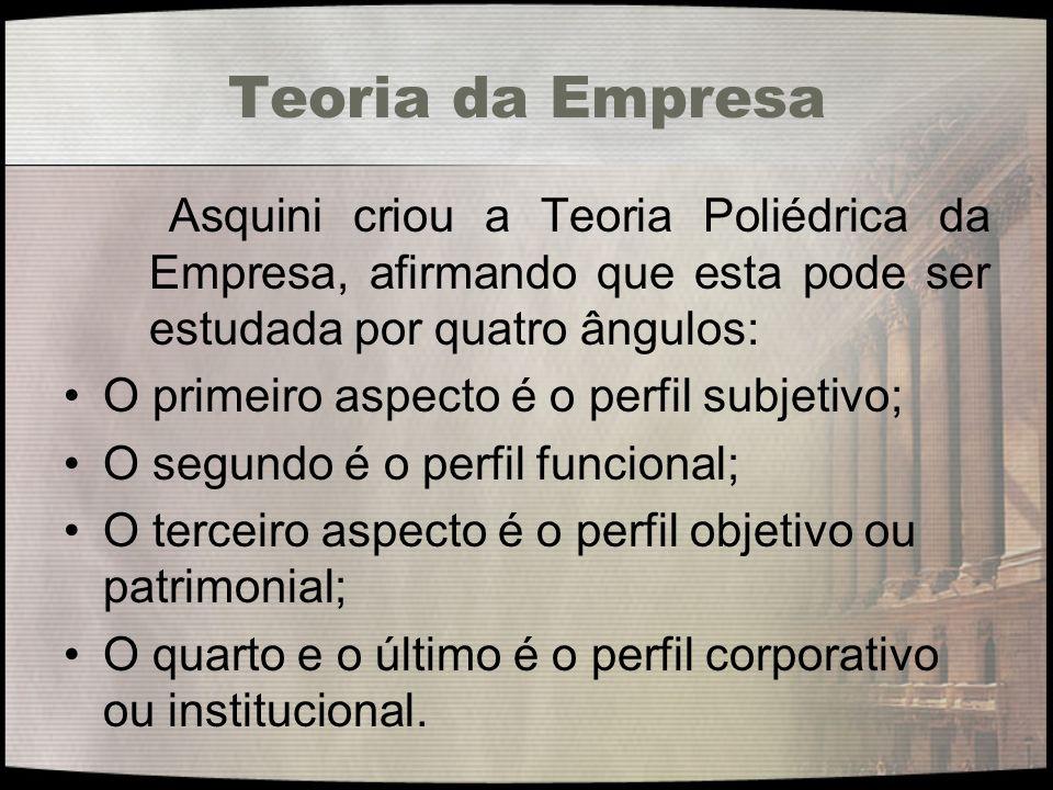 Teoria da Empresa O primeiro aspecto é o perfil subjetivo;