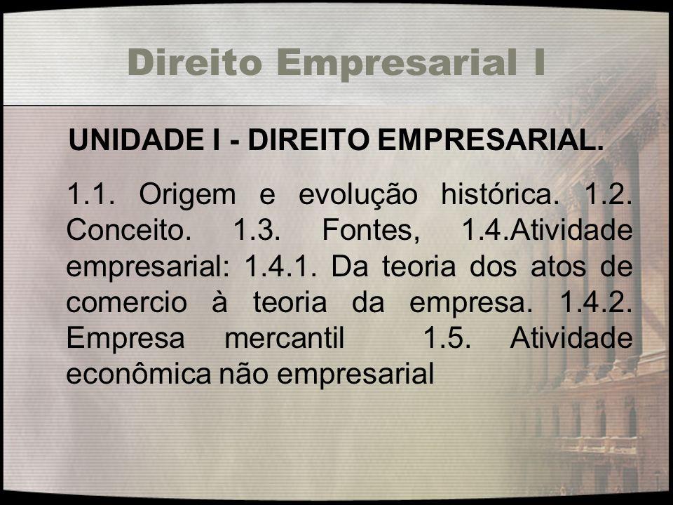 UNIDADE I - DIREITO EMPRESARIAL.