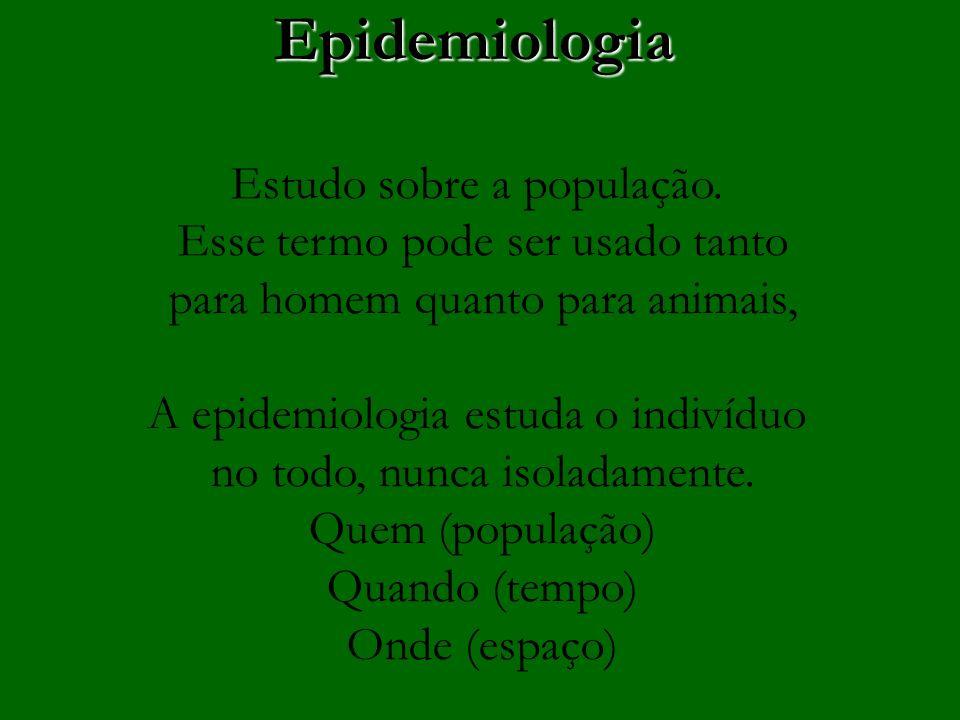Epidemiologia Estudo sobre a população.