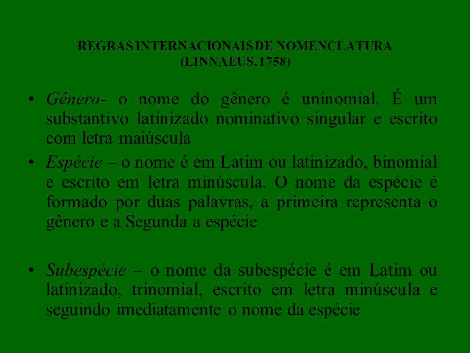 REGRAS INTERNACIONAIS DE NOMENCLATURA (LINNAEUS, 1758)