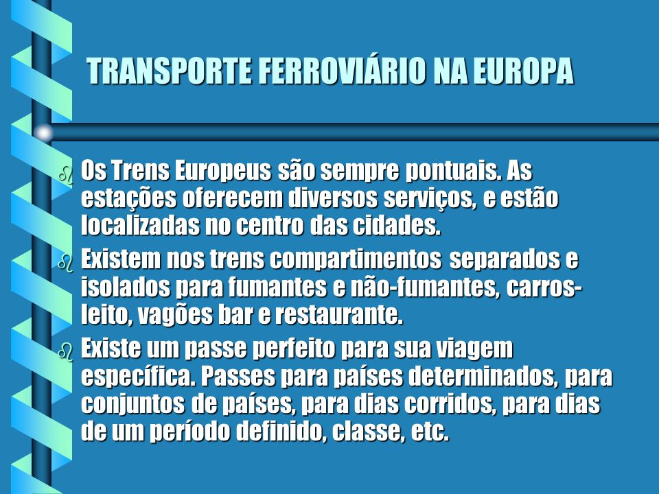 TRANSPORTE FERROVIÁRIO NA EUROPA