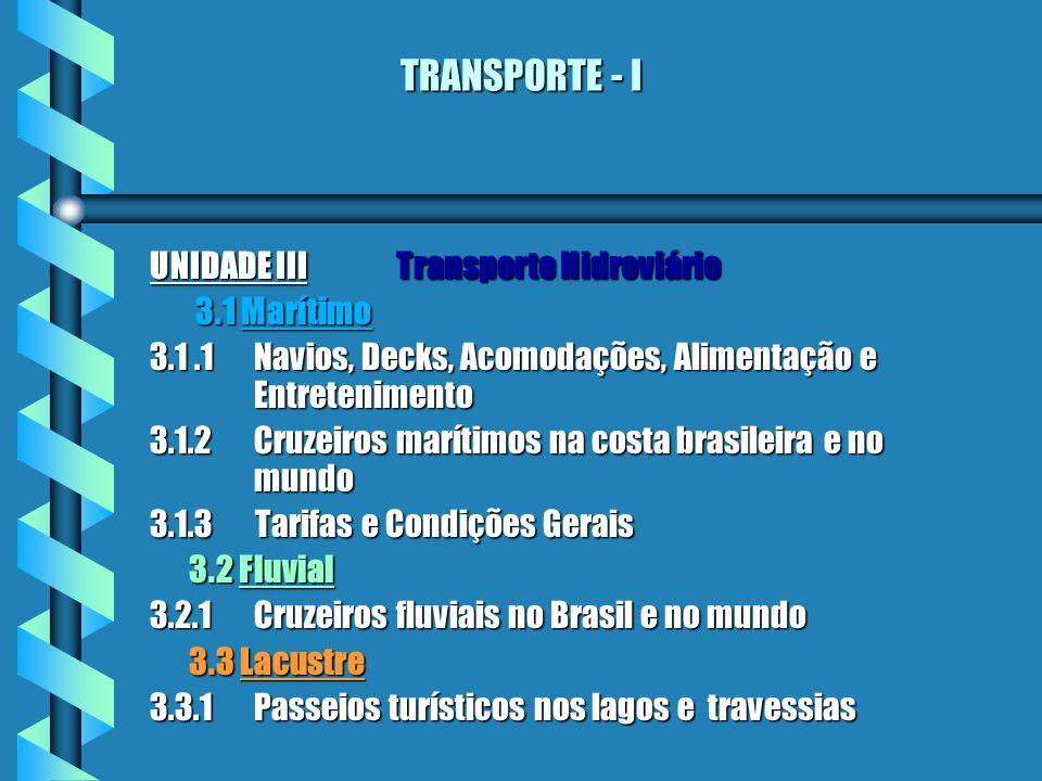 TRANSPORTE - I UNIDADE III Transporte Hidroviário 3.1 Marítimo