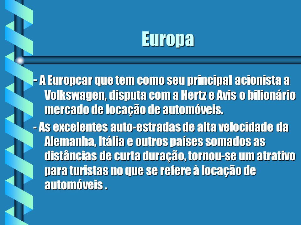 Europa - A Europcar que tem como seu principal acionista a Volkswagen, disputa com a Hertz e Avis o bilionário mercado de locação de automóveis.