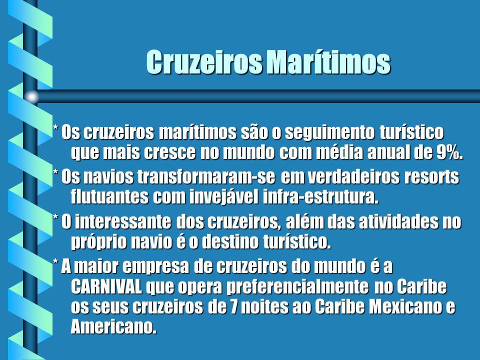 Cruzeiros Marítimos * Os cruzeiros marítimos são o seguimento turístico que mais cresce no mundo com média anual de 9%.