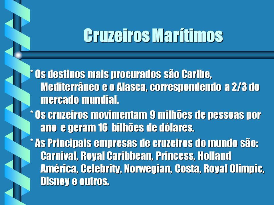 Cruzeiros Marítimos * Os destinos mais procurados são Caribe, Mediterrâneo e o Alasca, correspondendo a 2/3 do mercado mundial.