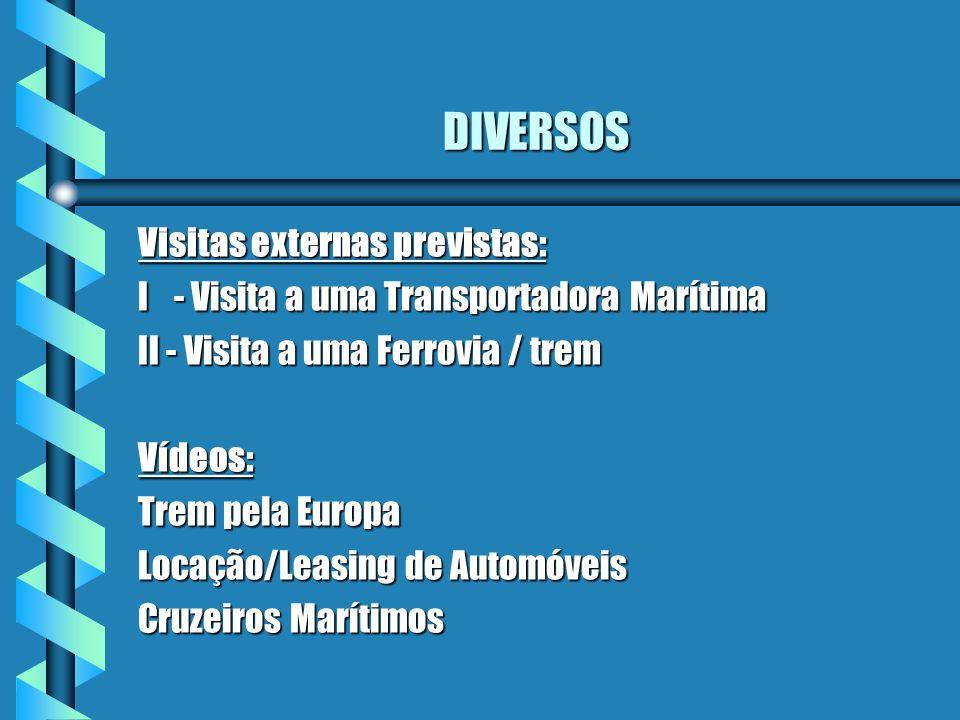 DIVERSOS Visitas externas previstas: