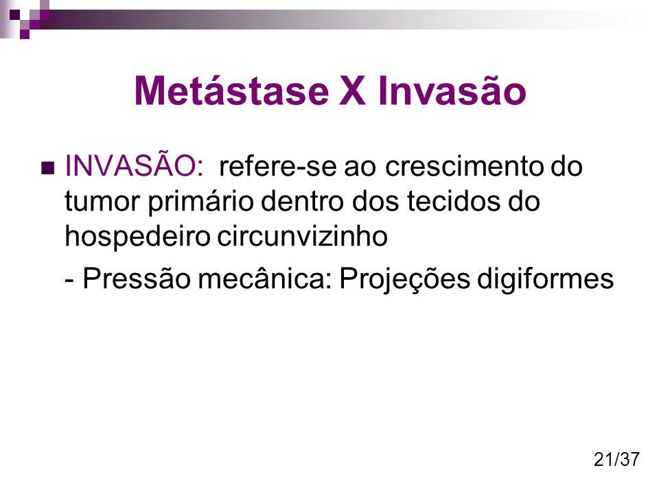 Metástase X Invasão INVASÃO: refere-se ao crescimento do tumor primário dentro dos tecidos do hospedeiro circunvizinho.