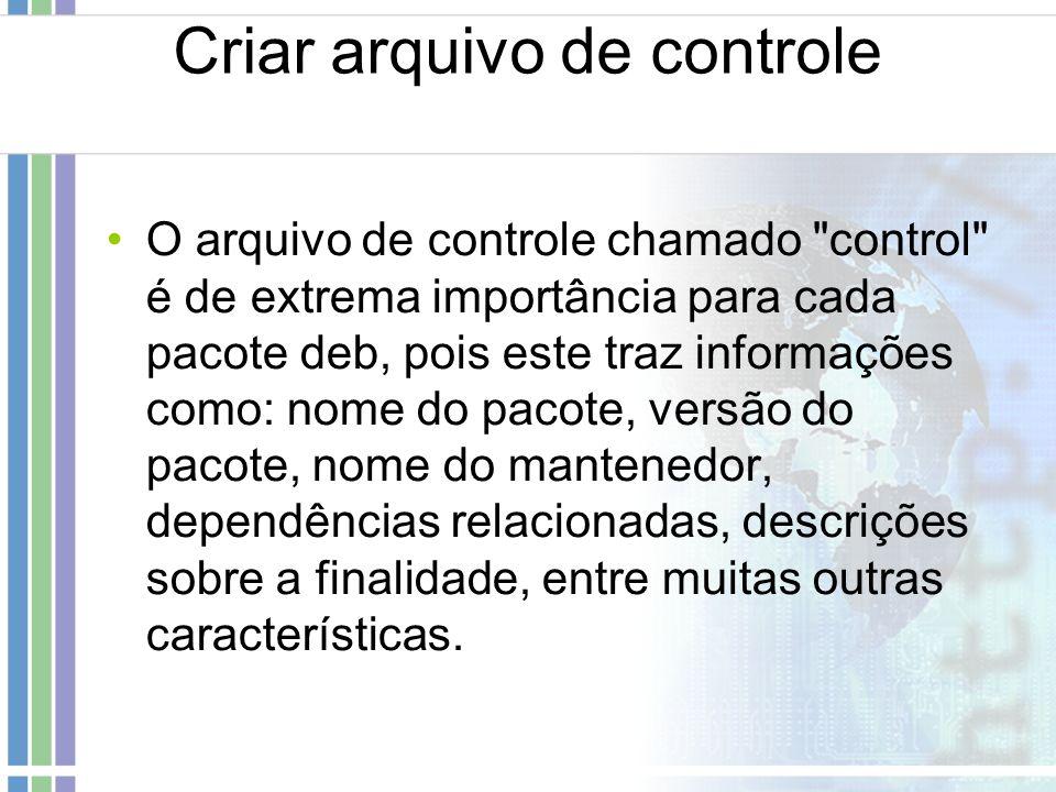 Criar arquivo de controle