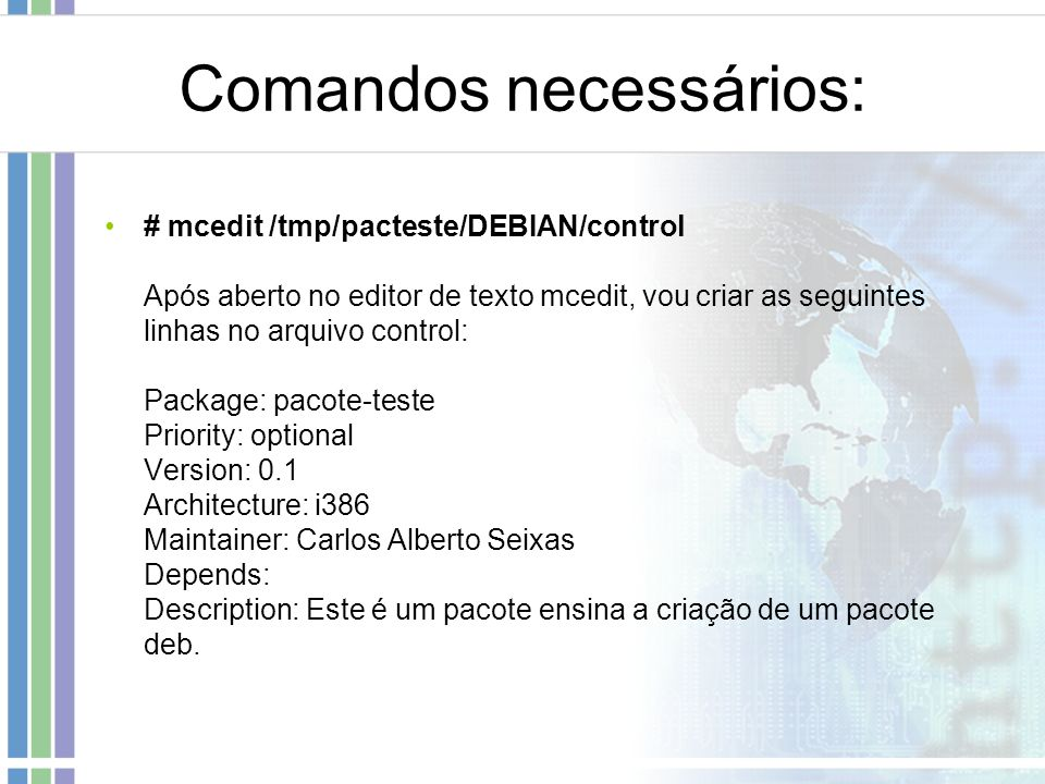 Comandos necessários: