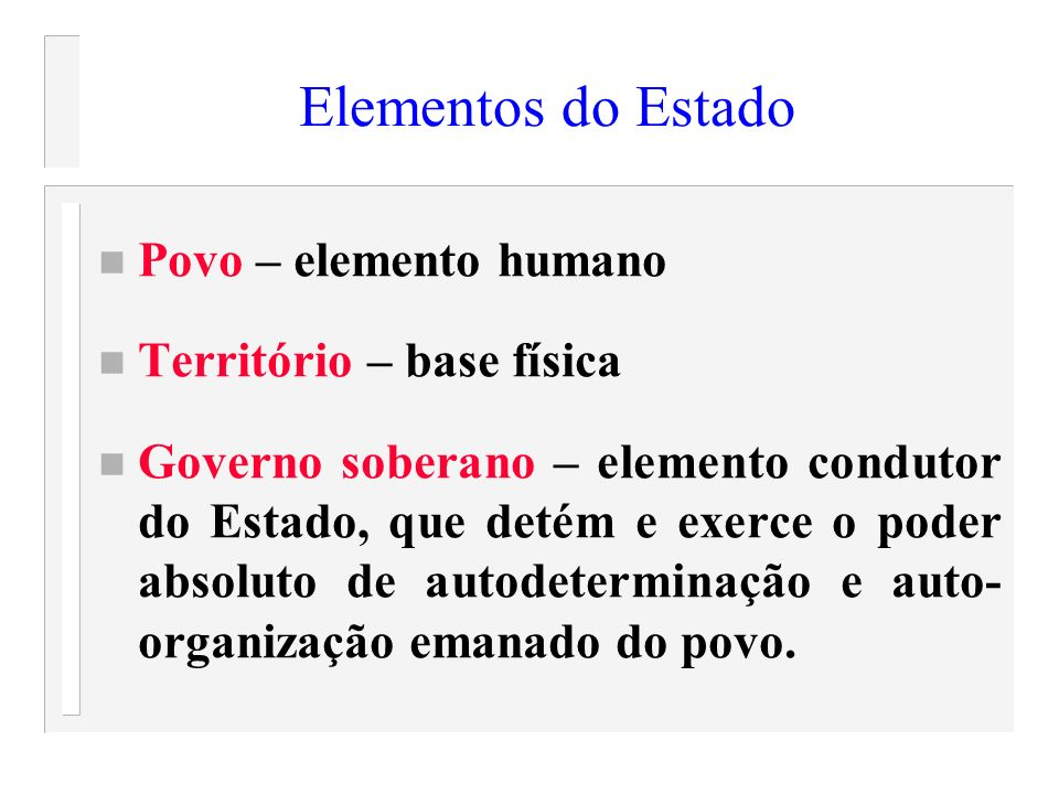 Elementos do Estado Povo – elemento humano Território – base física