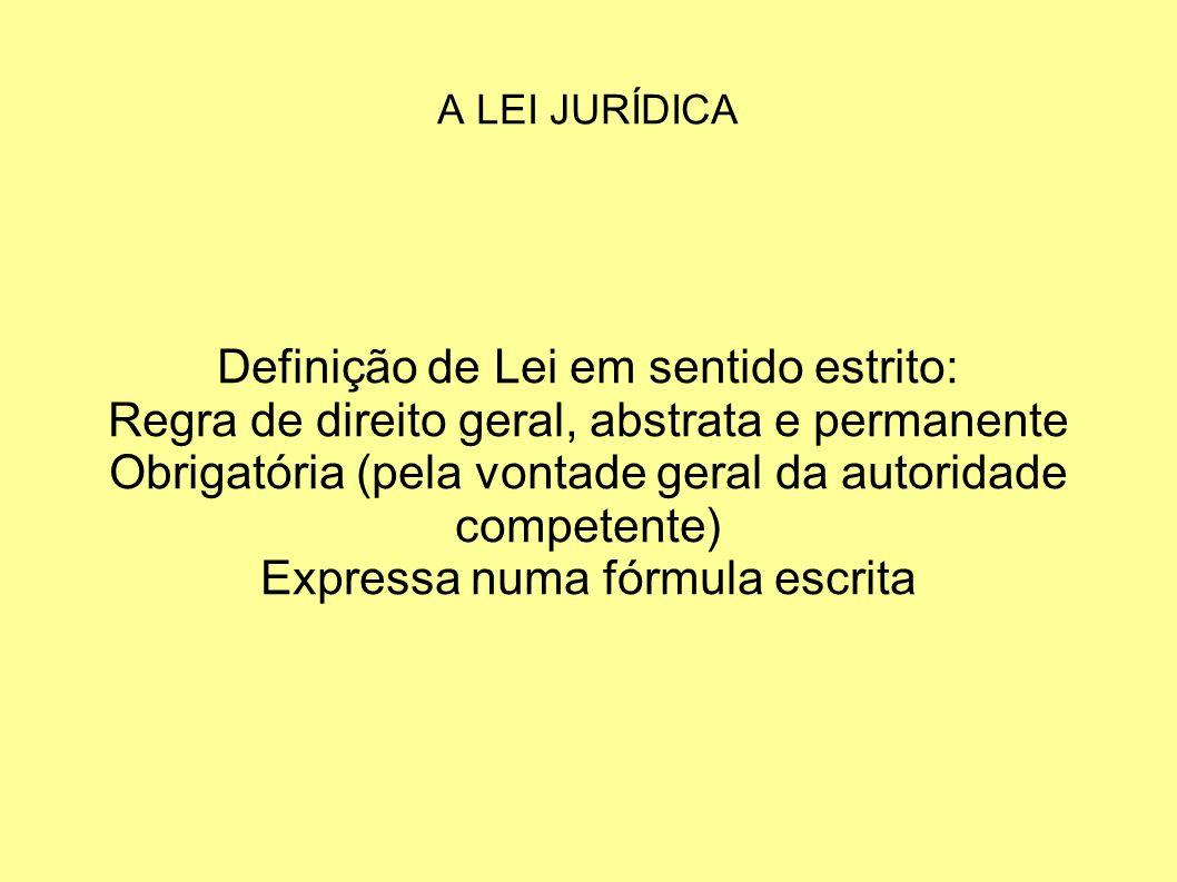 Definição de Lei em sentido estrito: